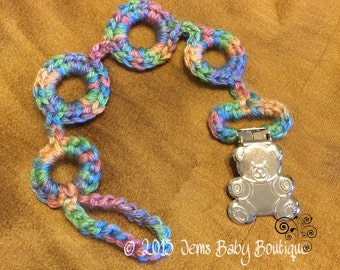 Crochet pacifier holder with bear clasp, Ready to Ship, Multi color, pastel colors, Pacifier clip