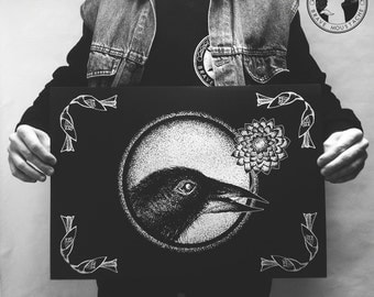 Crow. Artistic print. Hand-printed. Dotwork design. Independent artist.