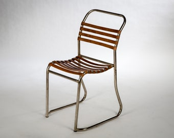 Metal and leather design chair