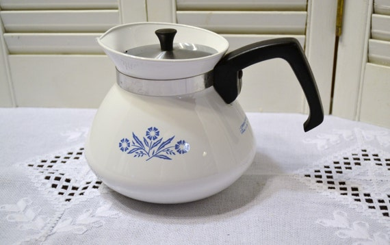 Vintage Corning Ware Cornflower Coffee Pot Teapot 6 Cup Blue