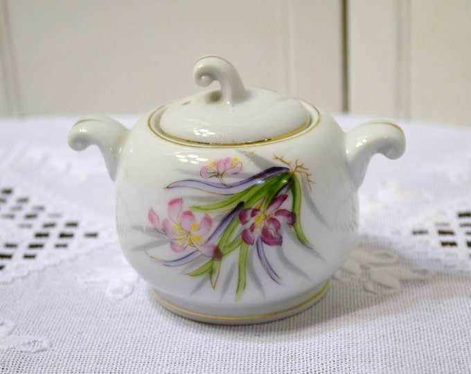 Vintage Sugar Bowl UCAGCO Pink Purple Green Floral PanchosPorch
