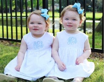 Monogrammed Baby and Toddler Dress | Preppy Lightweight Linen Hemstitched Sundress | Easter, Birthday, Portrait, Flower Girl, Beach Dress