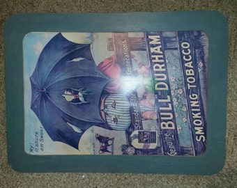 Vintage Bull Durham Tobacco Black Americana Advertising Framed Poster.