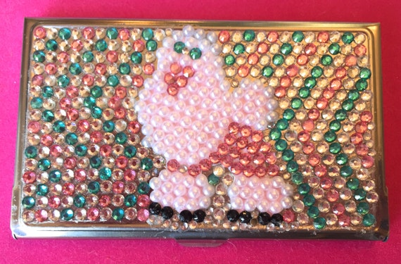 Rhinestone Business Card Holder with Poodle Design