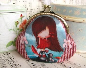Coin purse clutch with cute little redhead girl