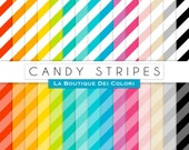 Candy stripes digital paper, colorful rainbow stripe scrapbooking pages drintable instant download for personal and Commercial Use