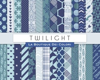 Twilight Digital Paper. Digital Teal and blue paper. Dgital Scrapbook paper patterns, Instant Download for Commercial Use