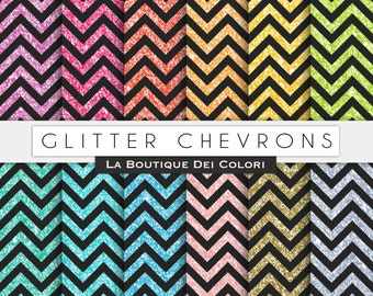 Black Glitter chevron digital paper. Black and glitter digital papers: scrapbooking, printables, cards, Commercial Use. pink, blue.