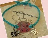 Believe in yourself, love to run, 5k bracelet with tree of life button closure