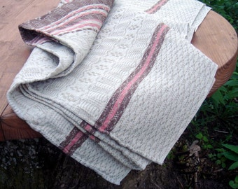 Swedish Linen tablecloth vintage Large cloth grey pink natural color brown hand woven table Cover Rustic Table Cloth