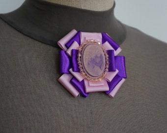 Made to order: Purple pink Brooch, ribbon brooch, pin brooch, comeo, pink, purple