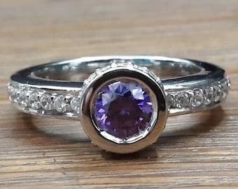 Bezel sterling silver ring