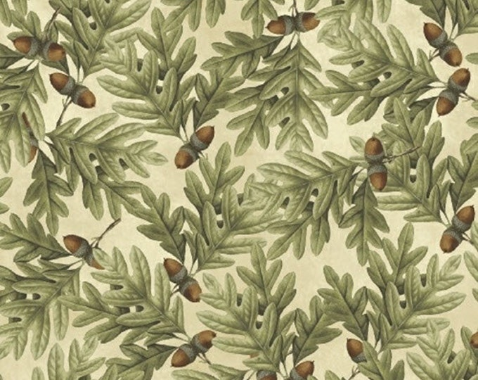 One Yard Postcards From the Lodge - Acorns and Leaves in Cream - Cotton Quilt Fabric - Pela Studio for Windham Fabrics - 39320-2 (W2690)