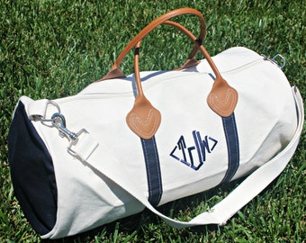 Monogrammed Round Canvas Duffle Bag | Travel Bag | Canvas Luggage | Monogrammed Travel Gift | Wedding Gift | Gifts for Her | Gifts for Him