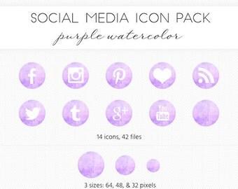 Social Media Icon Set, Purple Watercolor