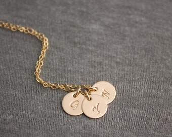 Personalized Initial Charm 14k Gold Filled Necklace