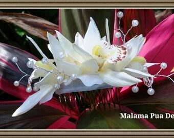 BRIDAL HAIR COMB, Bridal headpiece, Wedding comb, Tropical Hair Flower, Wedding Accessories, Beach Bride, Hawaiian Orchids, Swarovski Pearls
