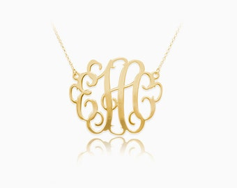 Gold Monogram Necklace - Personalized Gold Monogram Necklace - Monogram Initials Necklace - Initials Necklace - Monogram Necklace -