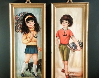Big Eye Prints. Girl with Poodle and Umbrella and Boy with Fish. Set of 2 Made in Italy Framed Lithographs. Kitsch. Child's Room Decor.