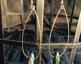 Teardrop Hoop Earrings Gold or Silver