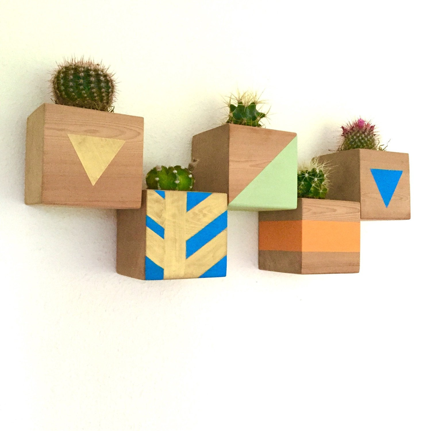 custom color floating cactus cube wood planter wall planter