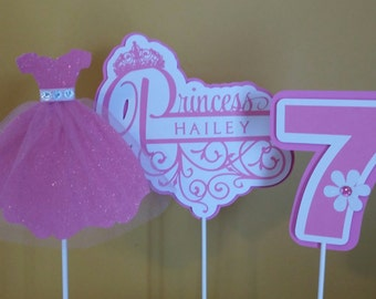Princess Party Centerpiece Sticks - Birthday  Party Centerpiece Sticks - Party Decoration Sticks Set of 3