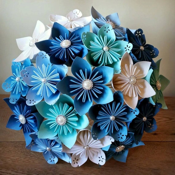 papier bouquet fleurs origami kusudama nuptiale articles. Black Bedroom Furniture Sets. Home Design Ideas