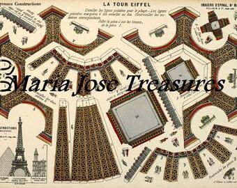 Vintage D'Epinal Pellerin Eiffel Tower Paper Model Cut Outs - Digital Download