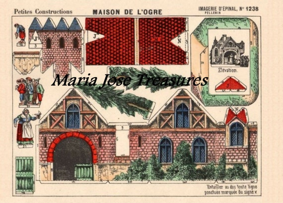Vintage French House Paper Doll Cut Outs Digital Download