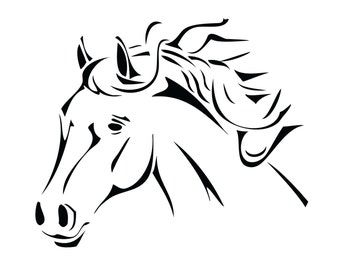 Tribal Horse Decal, Beautiful Horse Sticker , Horse Design Decal , Rodeo Sticker , Horse Trailer Decal.  Horse Cornhole Decal.