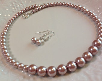 Champagne Graduated Pearl Necklace with Earrings