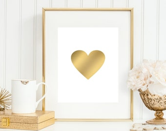 Gold Heart Art Print, Faux Gold Heart, 5x7, 8X10, 11x14 Love Art Print, Faux Gold Art Print, Bedroom Wall Decor, Dorm Wall Decor, Girly Art