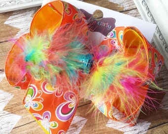 Yellow Pink Butterfly Spring Summer Large Exlarge Hairbow Orange Bow
