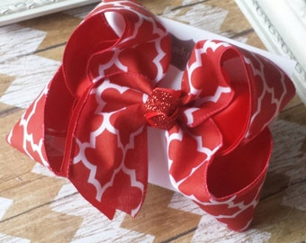 Red Hairbow Exlarge Quatrefoil Bow Lattice Large