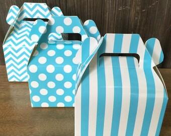 Blue Chevron, Stripe and Polka Dot Wedding Gable Boxes- Treat Box- Party Supply - 36 Ct.
