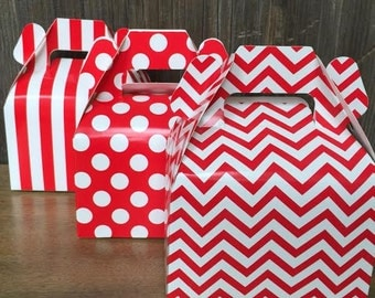 Red Chevron, Stripe and Polka Dot Wedding Gable Boxes - Favor Box, Gift Box, Party Supply 36 Ct.