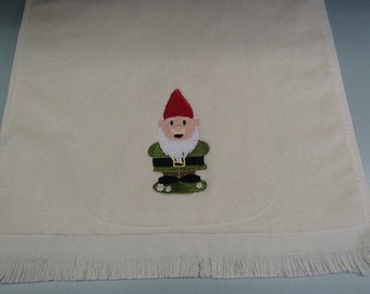 Embroidered Happy Gnome Elf Towel