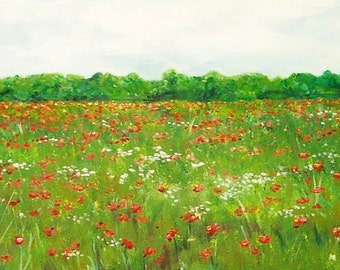 Poppy Field 12x24 inches