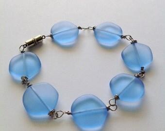 Frosty blue coin beaded bracelet