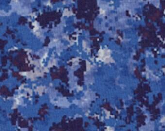 RJR Fabrics True Colors 1341 04 Blue Camouflage Yardage by Dan Morris