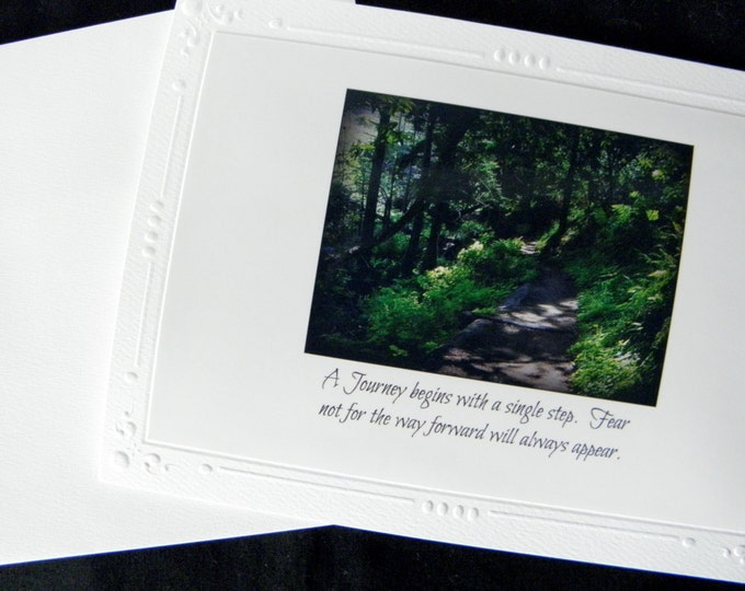 ENCOURAGEMENT Photo Card ships FREE, Green Forest Winding Path, Handmade Blank Inside Stationary, Text on Front, Embossed Card Stock