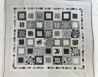 Quilted Table Topper, black,white and grey