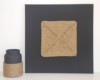 Black Hemp Rope Decorative Wall Piece