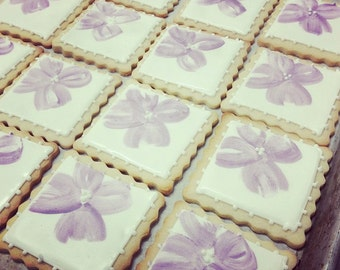 Handpainted Flower Tile Iced Shortbread Cookies - 1 Dozen