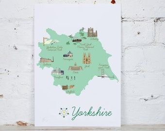 Illustrated Map of Yorkshire Digital Print A4/A3