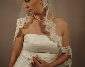"Soft and Sheer Mantilla wedding veil. Circular cut 42"" fingertip length. Made In USA"