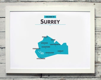 Surrey County Map | # poster, vintage, retro, print