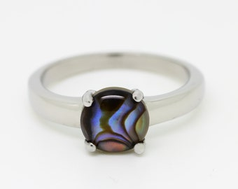 Genuine Abalone Solitaire ring in Titanium or White Gold - engagement ring - wedding ring - handmade ring