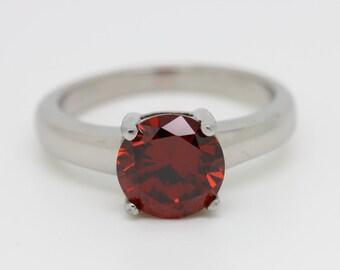 Genuine Garnet Solitaire ring in Titanium or White Gold - engagement ring - wedding ring - handmade ring