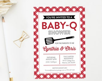 BBQ Baby Shower Invitation, BabyQ invite, Baby-Q or Babyque Couples Shower, Co-ed Picnic barbecue shower, Gender Neutral